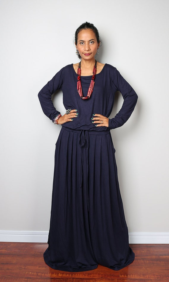 Navy Blue Maxi Dress Dark Blue Long Sleeve Dress Autumn