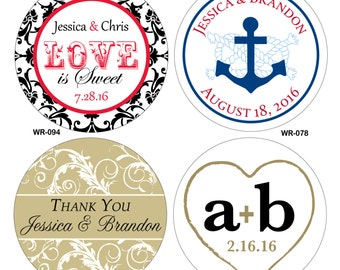 3 inch Custom Glossy Waterproof Wedding Stickers Labels - hundreds of designs to choose - change designs to any color or wording