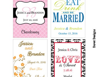 60 - 3x4 inch Custom Wedding Wine Bottle / Rectangle Waterproof Labels - many designs to choose - change designs to any color, wording etc