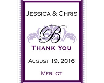 140 - 2x2.67 inch Custom Wedding Rectangle or Mini Wine Bottle Labels - hundreds of designs - change designs to any color or wording WN025