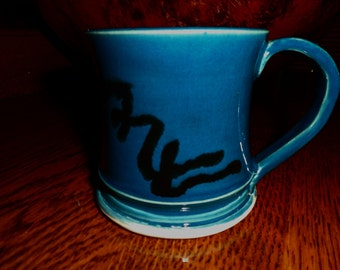 Pottery Mug Dark Teal and Black wheel thrown 12 ounce