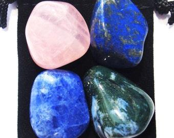 FRIENDSHIP Tumbled Crystal Healing Set - 4 Gemstones w/Description & Pouch - Lapis Lazuli, Moss Agate, Rose Quartz, and Sodalite
