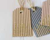 Gold Glitter Kraft Small Gift Tags with Twine - 6 pc