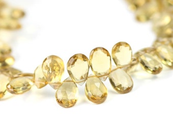 Champagne Quartz Faceted Pear Briolettes 4 Golden Semi Precious Gemstones