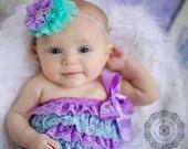 Little mermaid, ariel light purple and aqua Halloween Inspired Headband, baby girl headband, newborn bow, toddler headband,
