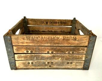 Wood and metal milk crate rustic