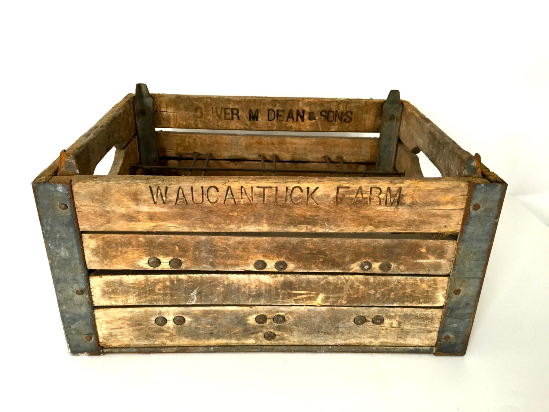 wood and metal milk crate rustic. Black Bedroom Furniture Sets. Home Design Ideas