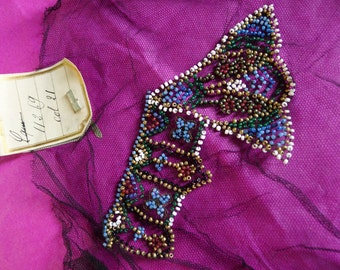 antique beaded applique sequins made in france by hand 1930