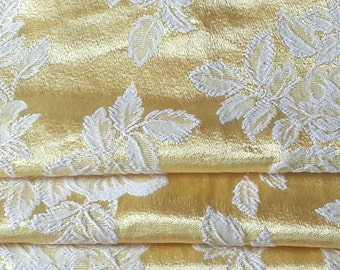 Vintage Curtain Panel, Hollywood Satin Brocade, Yellow and White
