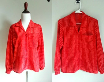 SALE - Vintage 70s Red and White Squiggle Blouse - Vintage Secretary Blouse