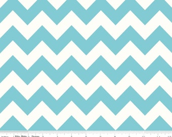 Le Creme Chevron - Medium Chevron Aqua from Riley Blake