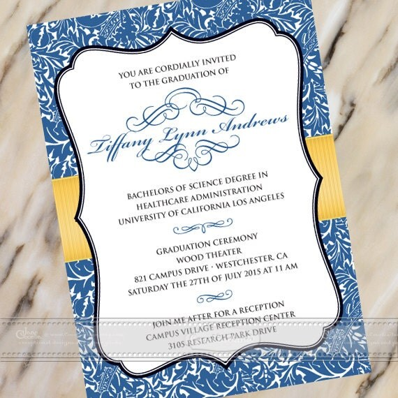 graduation announcements, royal blue graduation invitation, canary yellow graduation, college graduation, summa cum laude graduation, IN384