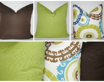 OUTDOOR Geometric Circles Lime Brown Blue Pillow Covers Deck Pillow Covers Porch Pillow Cover Choose size
