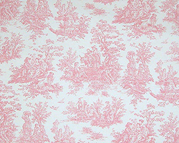 Shower curtain baby pink toile size 72x72 jamestown pink toile for Baby themed fabric