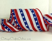 "Wired Ribbon, 4"" wide, Red, White and Blue Stars and Stripes - TEN YARD ROLL -  ""Stars on Parade""  Patriotic July 4th Wire Edged Ribbon"