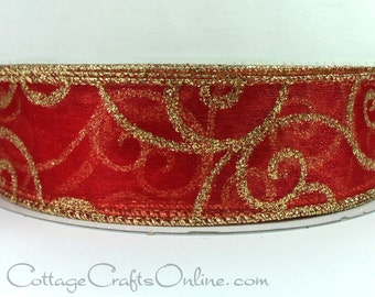 """Christmas Wired Ribbon, 1 1/2"""" wide, Red Sheer with Gold Glitter Filigree Swirl Scroll - THREE YARDS - Valentine's Day Red Wire Edged Ribbon"""