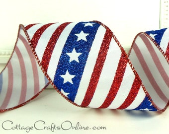"Wired Ribbon 2 1/2"" Patriotic Red, White and Blue Stars and Stripes Satin, THREE YARDS, Offray ""Old Glory 40"" 4th of July, Presidents Day"