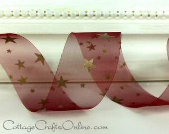 "CLEARANCE! Sheer Ribbon 1"" wide, Gold Stars on Burgundy Sheer - THREE YARDS - May Arts,  Patriotic, July 4th, Memorial Day Craft Ribbon"
