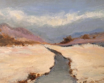 Snow in the Highlands. Original modern abstract landscape - 5x7 by artist Christina Glaser.