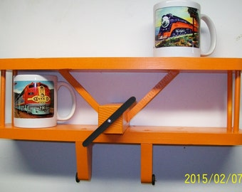 """AIRPLANE WALL SHELF -3D Wall Decoration - Great for Kids' Room Furniture Accents Aviation Theme // 18"""" Wide"""