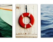 nautical decor // canvas art set // huge wall art // nautical canvas art set - set of three photography art on canvas