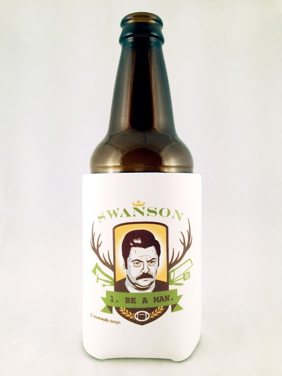 ron swanson 1 be a man beer koozie. Black Bedroom Furniture Sets. Home Design Ideas