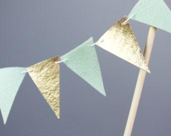 Mint and Gold Wedding Cake Topper Banner, Cake Bunting, Mint Cake Garland, Mint and Gold Party Decor, Bridal Shower Decor, Baby Shower Cake
