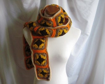 Granny Square Scarf Crochet - Orange, Brown and Gold