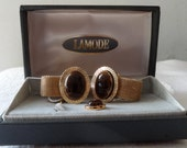 Vintage LaMode tiger eye and gold mesh cufflinks and tie tack in original box