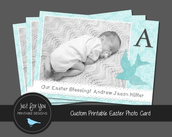 Easter Photo Card or Birth Announcement - New Baby - YOU PRINT (Digital File) Custom Printable Greeting Card