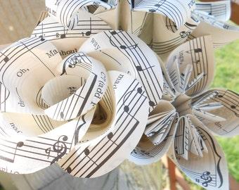 Vintage Sheet Music Flowers, Half Dozen. Anniversary Gift, Home Decor, Centerpiece, Wedding, Paper Flower Bouquet