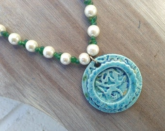 Robin Egg Blue Ceramic Necklace - White Glass Pearls and Green Miyuki Seed Bead Drops
