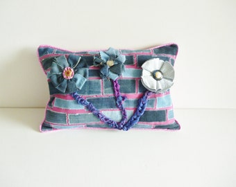 Denim cushion - recycled fabrics  - flowers and buttons - eco friendly - blue and pink - sari silk