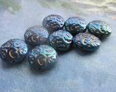 Czech Brocade Design Beads Dark  Blue Iridis 4Pcs.