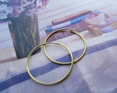 Vintage 38mm Raw Brass Hoop Earrings With Stainless Steel Ear Wires 6Prs.