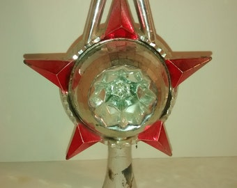 Vintage mid century plastic tree topper pink and silver Christmas