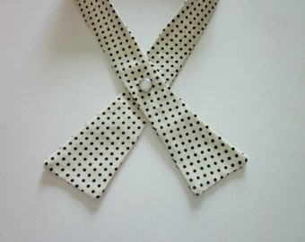 Womens Crisscross Tie, Continental Tie, Scout Tie, Cream with Black Dots, Handmade