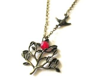 Tree pendant with sparrow and red jade necklace jewelry victorian vintage style antique brass bronze tree necklace