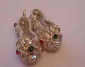 Vintage Silver Slippers Bracelet Charm Glass Stones BEAUTIFUL