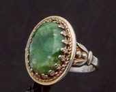 Vintage Signed D Sterling Silver Vermeil Green Stone Fancy Ring 20690