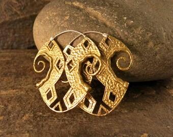 Inca Large Brass Earring