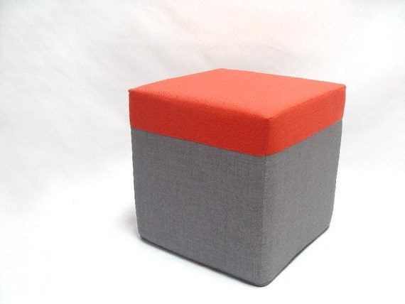 Items Similar To Outdoor Pouf Ottoman Color Block Coral