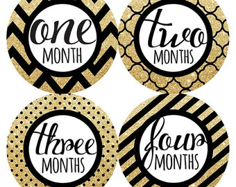 FREE GIFT, Baby Girl Month Stickers, Black Gold Month Stickers, Baby Belly Stickers Girl, Gold Glitter, Black, Chevron, Dots, Baby Gift