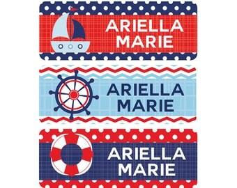 Baby Bottle Labels, Nautical, Bottle Labels, Name Labels, Daycare Labels, Waterproof Labels, Baby Bottle, Nautical, Girl, Boy