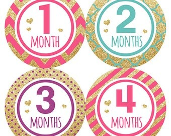 FREE GIFT, Monthly Baby Stickers, Girl, Glitter, Hearts, Baby Month Stickers, Milestone Baby Sticker, Baby Belly Stickers Pink, Purple, Teal