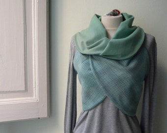 Reversible updated classic vest. 50s green wood and pale green and grey checked with collar.