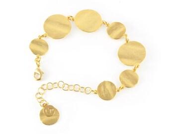 Delicate Coin Gold Bracelet, gold link bracelet, gold delicate bracelet, gold bracelet, bracelet gold, gold bridal bracelet, wedding jewelry