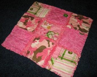 PRICE REDUCED - Little Pink John Deere Rag Quilt Security Blanket