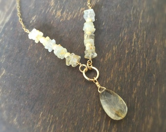 Gold Necklace - Gold Rutilated Quartz Necklace - Rutilated Quartz Pendant - Chain Jewellery - Gemstone - Luxe - Fashion