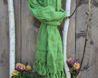 Light Bright Green Linen Long Scarf with Hand Knotted Fringes for Teen or Adult. Ready to Ship